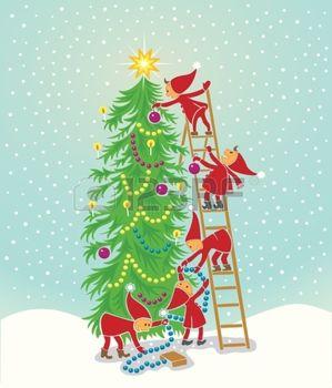 10942521-クリスマス-ツリーを飾る-5-かわいい-elfs